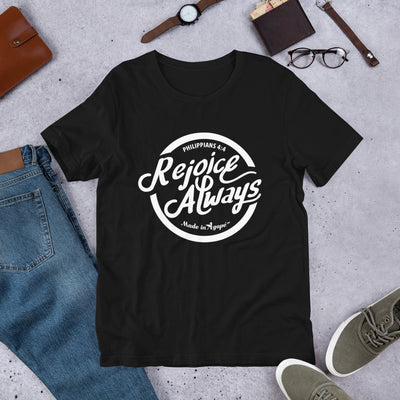 Rejoice Always - Cozy Fit Short Sleeve Tee-Black-S-Made In Agapé