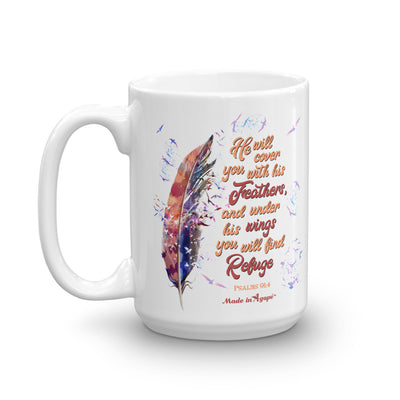 Agapé Feathers and Wings - Coffee Mug-15oz-Left Handle-Made In Agapé