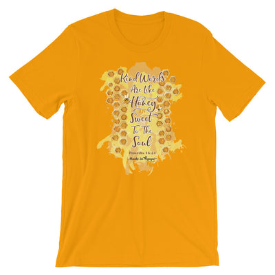 Kind Words Are Like Honey - Cozy Fit Short Sleeve Tee-Gold-S-Made In Agapé