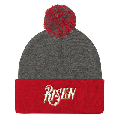 Risen - Pom Pom Knit Beanie-Dark Heather Grey/ Red-Made In Agapé