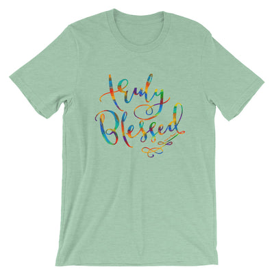 Truly Blessed - Cozy Fit Short Sleeve Tee-Heather Prism Mint-S-Made In Agapé