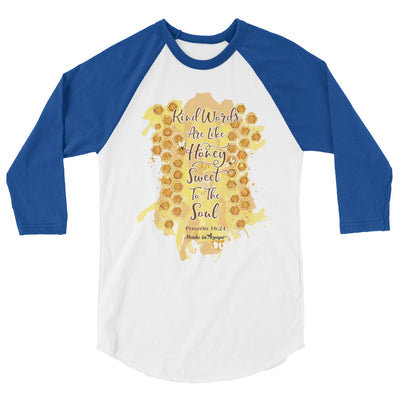 Kind Words Are Like Honey - Unisex 3/4 Sleeve Raglan Baseball Tee-White/Royal-XS-Made In Agapé