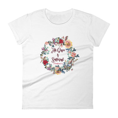 His Grace Is Sufficient - Ladies' Fit Tee-White-S-Made In Agapé