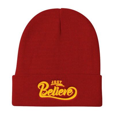 Just Believe - Knit Beanie-Red-Made In Agapé