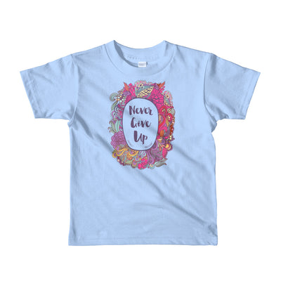 Never Give Up - Kids T-Shirt-Baby Blue-2yrs-Made In Agapé