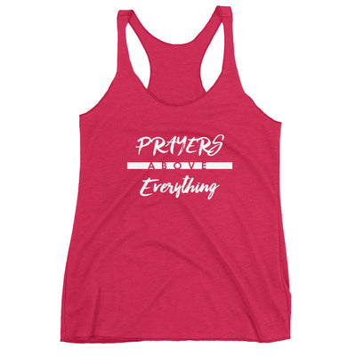 Prayers Above Everything - Ladies' Triblend Racerback Tank-Vintage Shocking Pink-XS-Made In Agapé