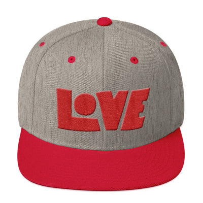 LOVE Protects - Snapback Hat-Heather Grey/ Red-Made In Agapé