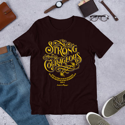 Be Strong and Courageous - Unisex Crew-Oxblood Black-S-Made In Agapé