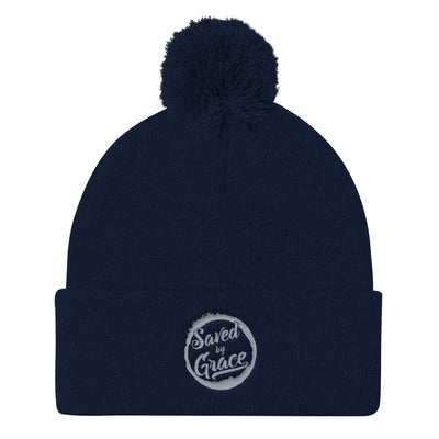 Saved By Grace - Pom Pom Knit Beanie-Navy-Made In Agapé