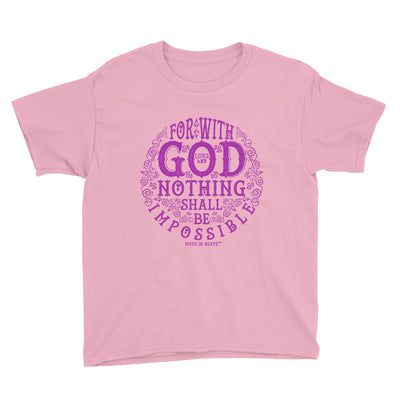 Nothing Impossible With God - Youth Short Sleeve Tee-CharityPink-XS-Made In Agapé