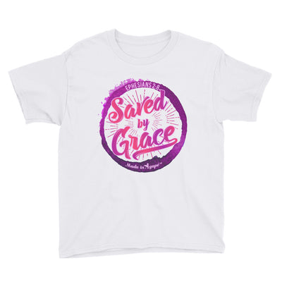 Saved By Grace - Youth Short Sleeve Tee-White-XS-Made In Agapé