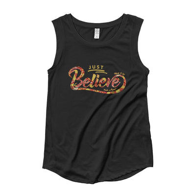 Just Believe - Ladies' Cap Sleeve-Black-S-Made In Agapé