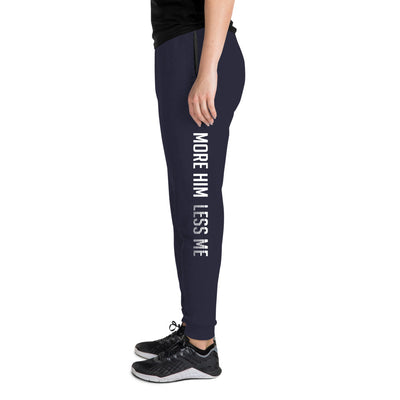 More Him Less Me - Unisex Fleece Joggers-J. Navy-S-Made In Agapé