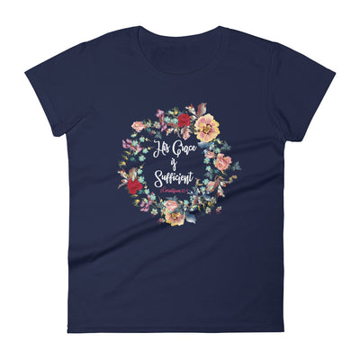 His Grace Is Sufficient - Ladies' Fit Tee-Navy-S-Made In Agapé