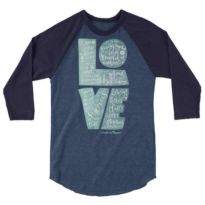 Love Is Patient - Unisex 3/4 Sleeve Raglan Baseball Tee-Heather Denim/Navy-XS-Made In Agapé