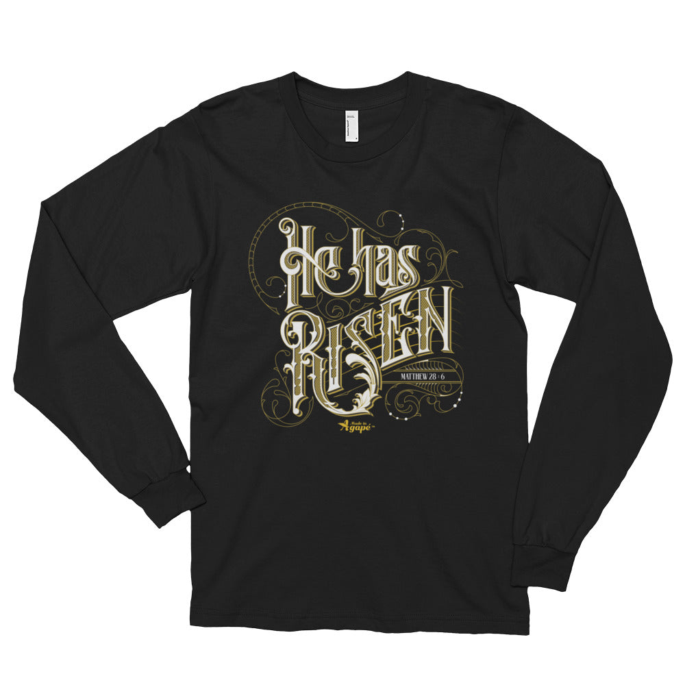 He Has Risen - Unisex Long Sleeve Shirt-Black-S-Made In Agapé