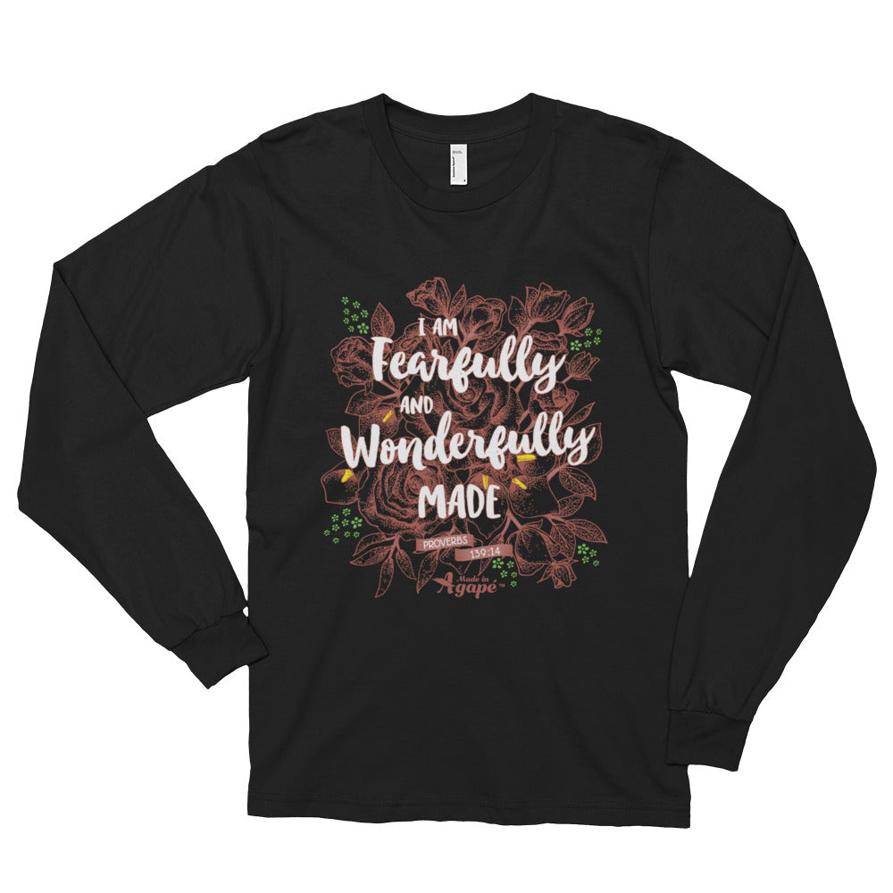Fearfully And Wonderfully Made - Unisex Long Sleeve Shirt-Black-S-Made In Agapé