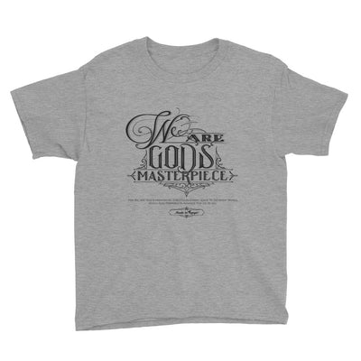 We Are God's Masterpiece - Youth Short Sleeve Tee-Heather Grey-XS-Made In Agapé