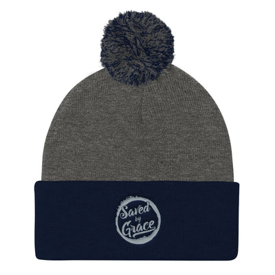 Saved By Grace - Pom Pom Knit Beanie-Dark Heather Grey/ Navy-Made In Agapé