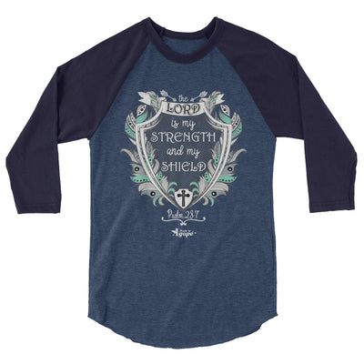 Lord Is My Strength And Shield - Unisex 3/4 Sleeve Raglan Baseball Tee-Heather Denim/Navy-XS-Made In Agapé