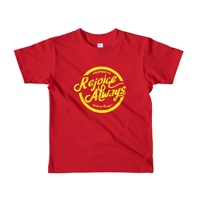 Rejoice Always - Kids T-Shirt-Red-2yrs-Made In Agapé