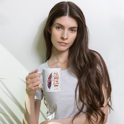 Agapé Feathers and Wings - Coffee Mug-Woman holding mug-Made In Agapé