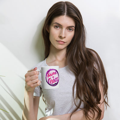 Saved By Grace - Coffee Mug-Woman holding mug-Made In Agapé
