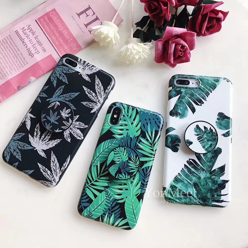 Green Leaves Palm Soft TPU Case for iPhone XS Max 6 7 8 Plus Cover with Holder Stander Summer Design