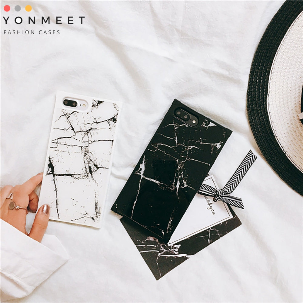 YonMeet Black and White Marble Case For iPhone 8 7 Plus 8plus Trunk soft Glossy Mirror Shockproof back cover phone casing shell
