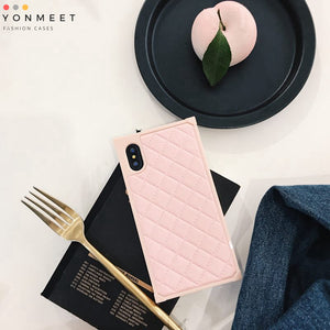 Square Grid leather Cases For iphone X 8 7plus Diamond lattice back Cover For iphone 8Plus Rhombic sheepskin Capa Fundas for iPhone 6 6s 7 Plus/8 Plus