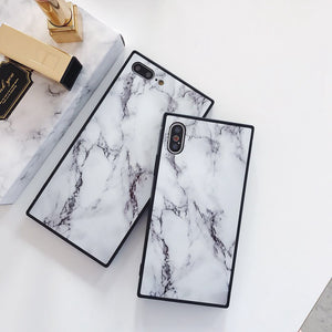 Marble TPU Soft Square Case For iPhone X 6S 7 8 Plus Glossy Trunk Back Cover