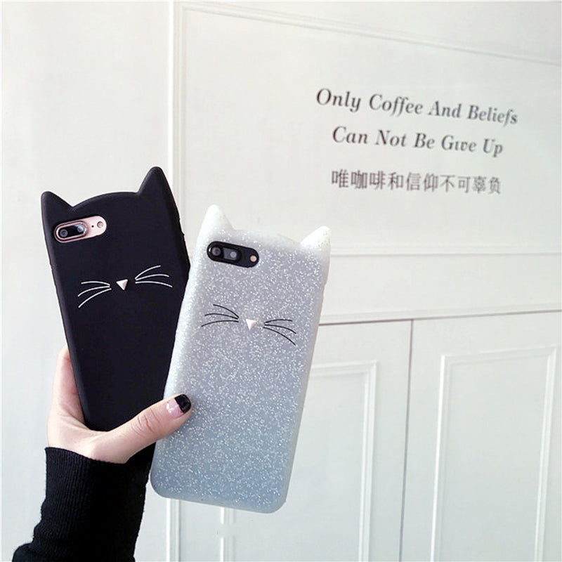 Famous Brand 3D Cat Silicone Soft Cute Case for iPhone 7 7plus 6 6plus 6s 6splus Soft Back Cover Black White Phone Funda