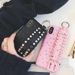 Fashion case For iphone X  For iphone 6 6S 7 8 Plus X Cover Retro rivet Wrist Strap leather PC Cases