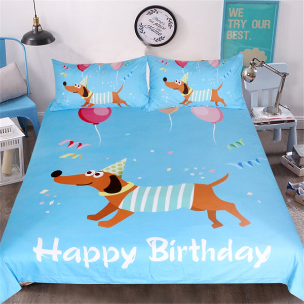 Bedding set | Dachshund | Happy birthday
