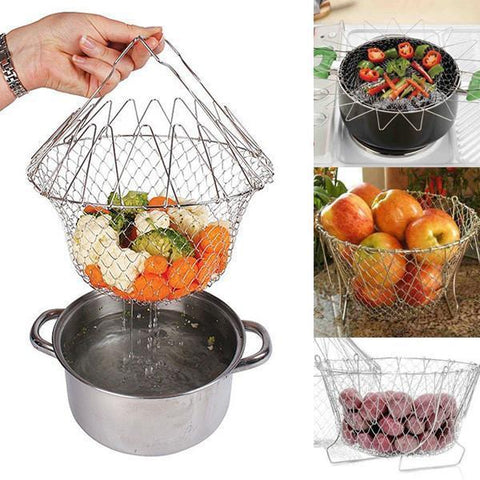 12-in-1 Flexible Kitchen Basket Stainless Steel