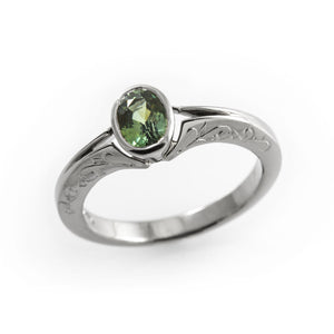 Green sapphire ring, green sapphire engagement ring, natural oval sapphire white gold, oval bezel engagement ring, hand engraved ring band