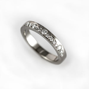 Unique wedding band with diamonds, alternative half eternity ring, contemporary and modern wedding ring, unique engagement ring, lace ring