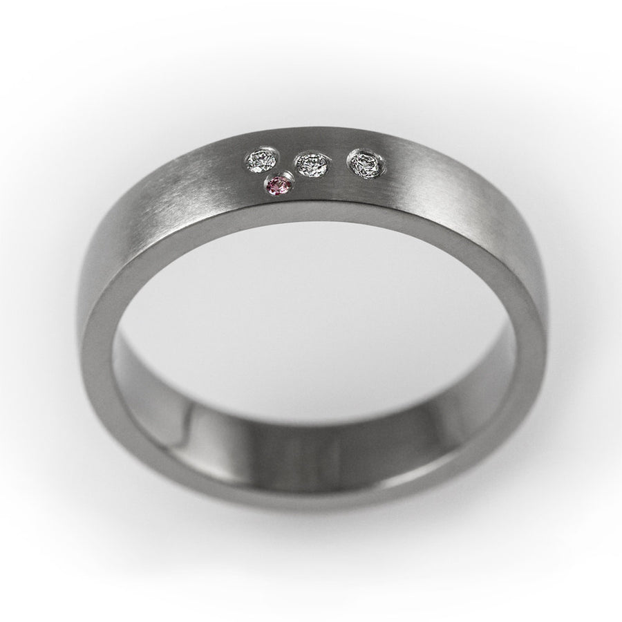 Unique wedding band, modern engagement ring, simple wedding ring, pink sapphire, diamond wedding band, flush set ring, matte diamond ring