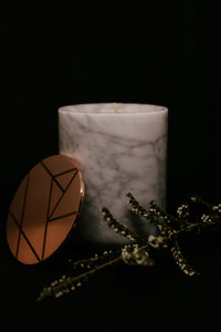 White/Grey Italian Carrara Marble Candle