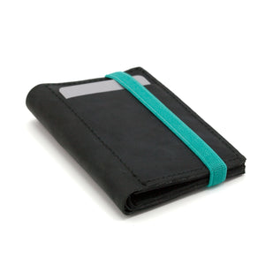 THE WALLET - in vintage black / turquoise band
