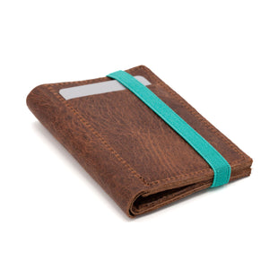 THE WALLET - in vintage brown / turquoise band