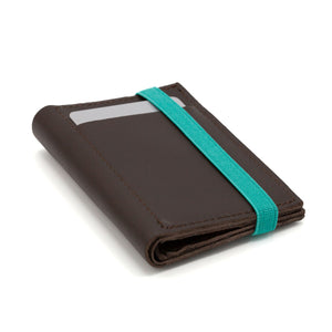THE WALLET - in brown / turquoise band