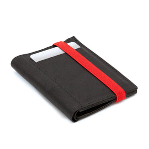 THE WALLET - in soft and textured black / red band - GAZUR STUDIO