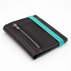 THE ZIPPER - in black / turquoise band - Wallets - GAZUR STUDIO