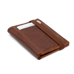 THE WALLET - in vintage look textured brown / brown band