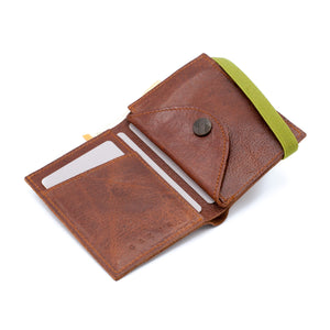 THE WALLET - in textured brown leather / green band - GAZUR STUDIO
