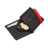 THE WALLET - in soft and textured black / red band