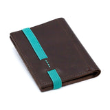 THE WALLET vr.II - in brown / turquoise band - GAZUR STUDIO