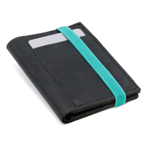 THE WALLET vr.II -  in black / turquoise band - Wallets - GAZUR STUDIO