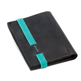THE WALLET vr.II - in black / turquoise band - GAZUR STUDIO